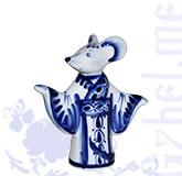 """Ск. """"Крыса в кимоно"""" авт. Гаврилов (Гжель-Малахит)"""