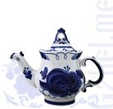 """Чайник """"Европейский"""" автор Федотов (Гжель-Малахит)"""